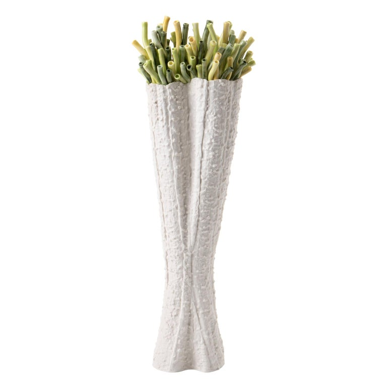 Contemporary Porcelain White Vase Green Corals Sea Ceramic Handmade Italy Fos For Sale