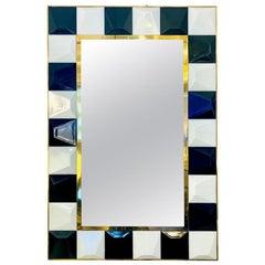 Contemporary Postmodern Italian Geometric Black White Murano Glass Brass Mirror