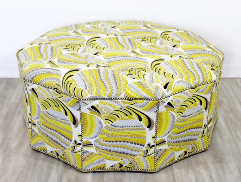 For your consideration is a wonderfully patterned and studded foot stool, ottoman or seat by Swaim, circa the 2000s. In excellent condition. The dimensions are 45