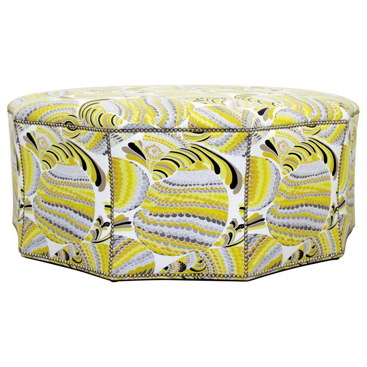 Contemporary Postmodern Swaim Studded Upholstered Large Ottoman Foot Stool Seat