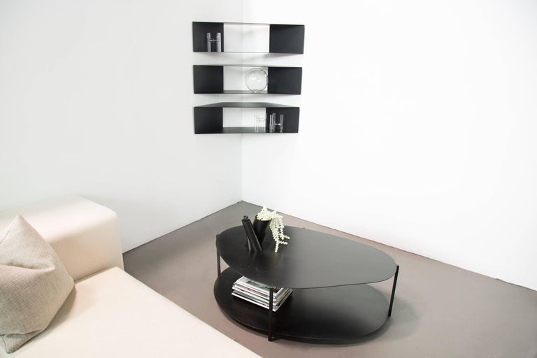 Contemporary Powder Coated Black Steel Organic Minimal Coffee Table USA For Sale 1