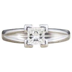 Contemporary Princess Cut 0.45 Carat Diamond Solitaire Ring in Platinum