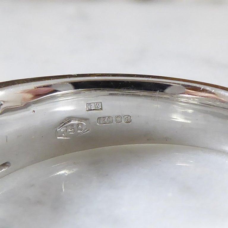Women's or Men's Contemporary Princess Cut Diamond Ring, 18 Carat White Gold, Unworn For Sale