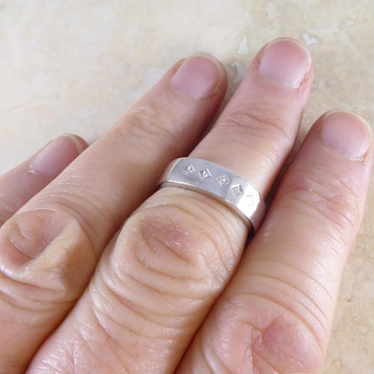 Contemporary Princess Cut Diamond Ring, 18 Carat White Gold, Unworn For Sale 1
