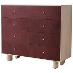 Profile Dresser in Bleached Ash with Burgundy Leather