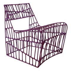 Contemporary Purple Armchair from recycled metal and nylon cord by Cheick Diallo