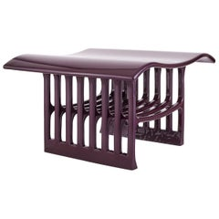 Contemporary Purple Wood Sculpted Bench with Acrylic Finish