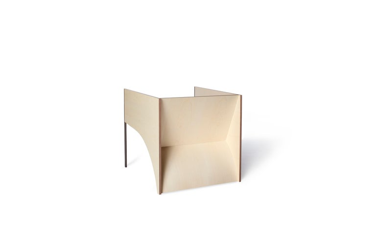 Modern Contemporary QD01 Chair with Maple Wood and Brass Bronzed Structure For Sale