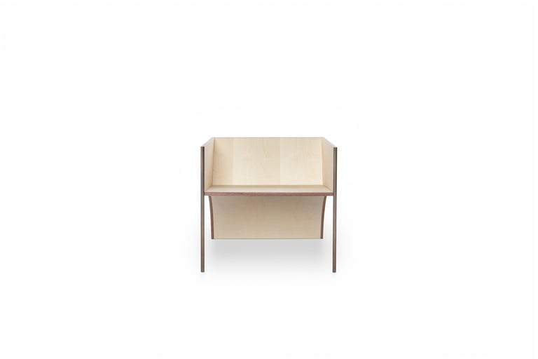 Italian Contemporary QD01 Chair with Maple Wood and Brass Bronzed Structure For Sale