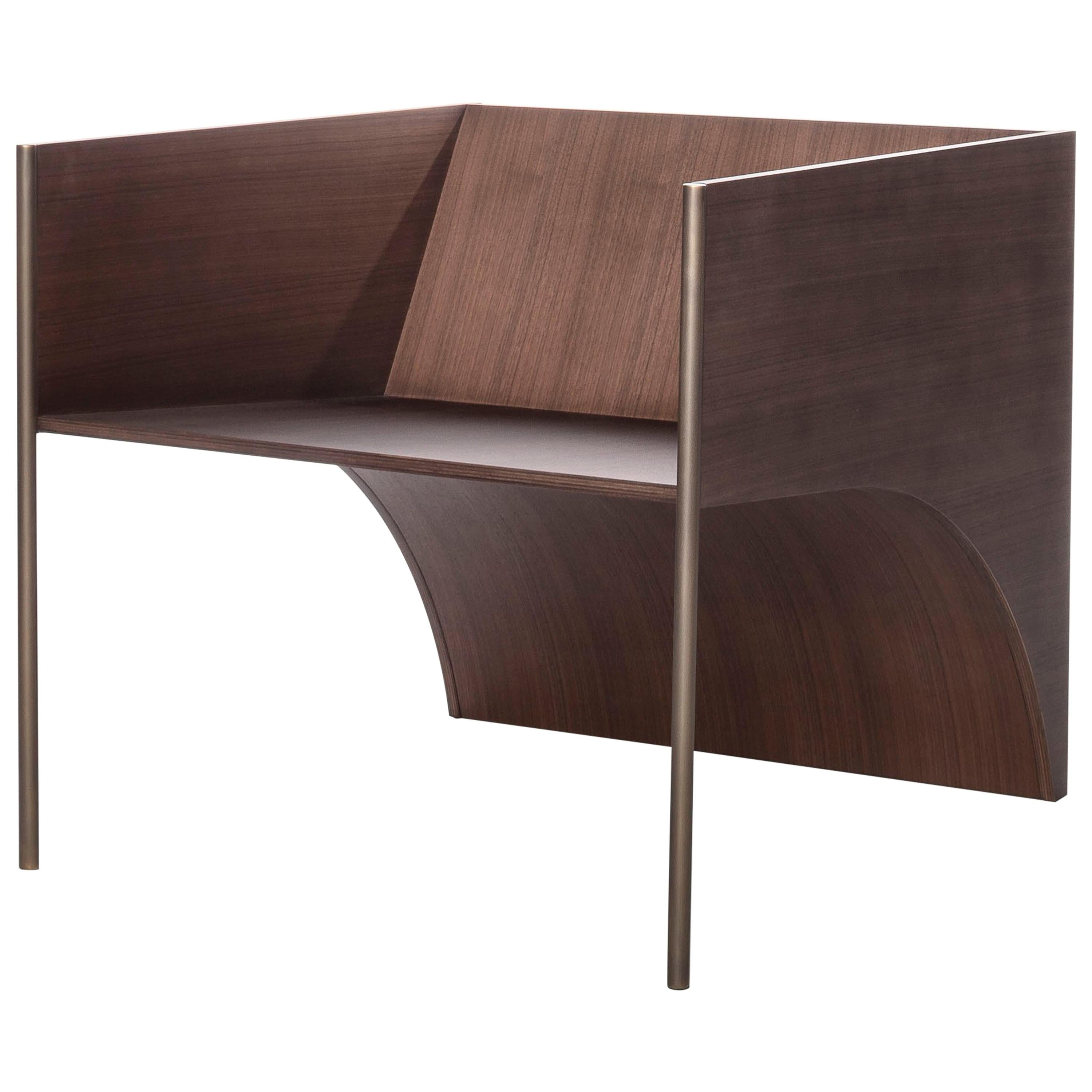. Contemporary QD01 Chair with Walnut Wood and Brass Bronzed Structure