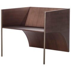 Contemporary QD01 Chair with Walnut Wood and Brass Bronzed Structure