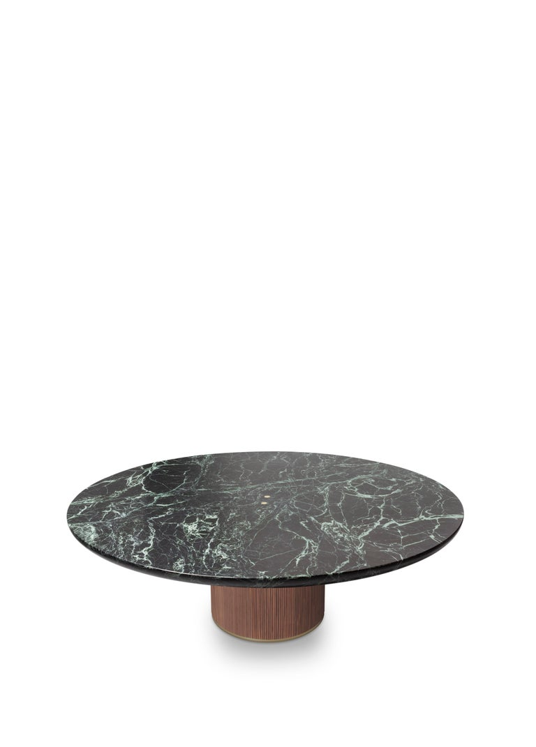 Modern Contemporary QD05 Coffee Table with Green Marble Top, Oak Base and Brass Detail For Sale