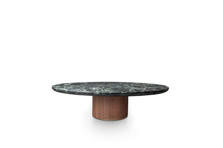Italian Contemporary QD05 Coffee Table with Green Marble Top, Oak Base and Brass Detail For Sale