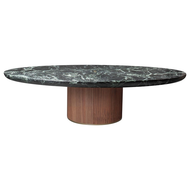 Contemporary QD05 Coffee Table with Green Marble Top, Oak Base and Brass Detail For Sale
