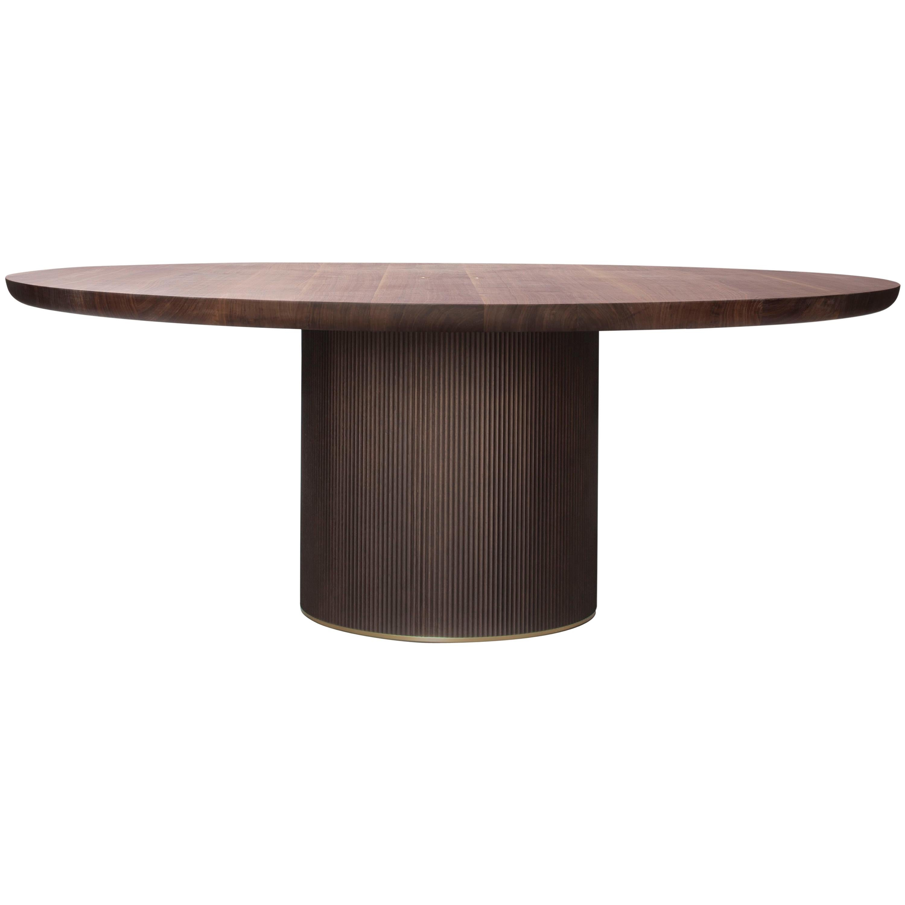 Pisa Dining Table Dark Aged Br Base And Stained Oak Top For At 1stdibs