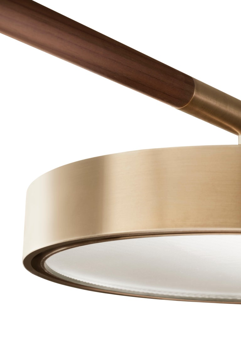 Modern Contemporary QD09 Pendant Lamp with Brass, Wood, and thin Ribbed Glass For Sale