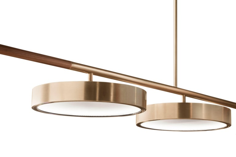 Italian Contemporary QD09 Pendant Lamp with Brass, Wood, and thin Ribbed Glass For Sale