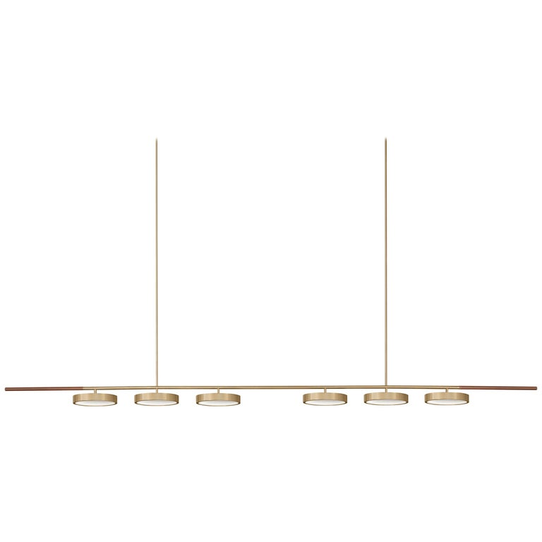Contemporary QD09 Pendant Lamp with Brass, Wood, and thin Ribbed Glass For Sale