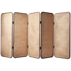 Contemporary QD10 Floor Screen or Room Divider in Handwoven Cane and Walnut