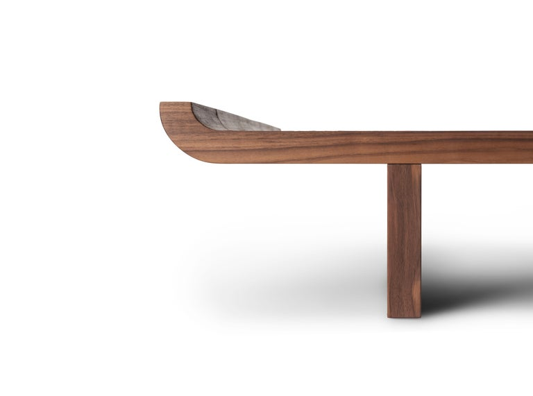 Modern Contemporary QD17 Coffee Table with Walnut Wood and Brass Details For Sale