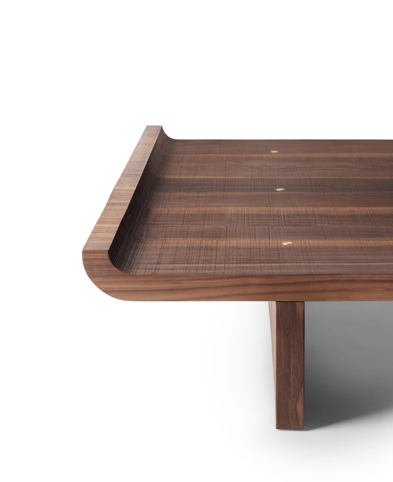 Italian Contemporary QD17 Coffee Table with Walnut Wood and Brass Details For Sale
