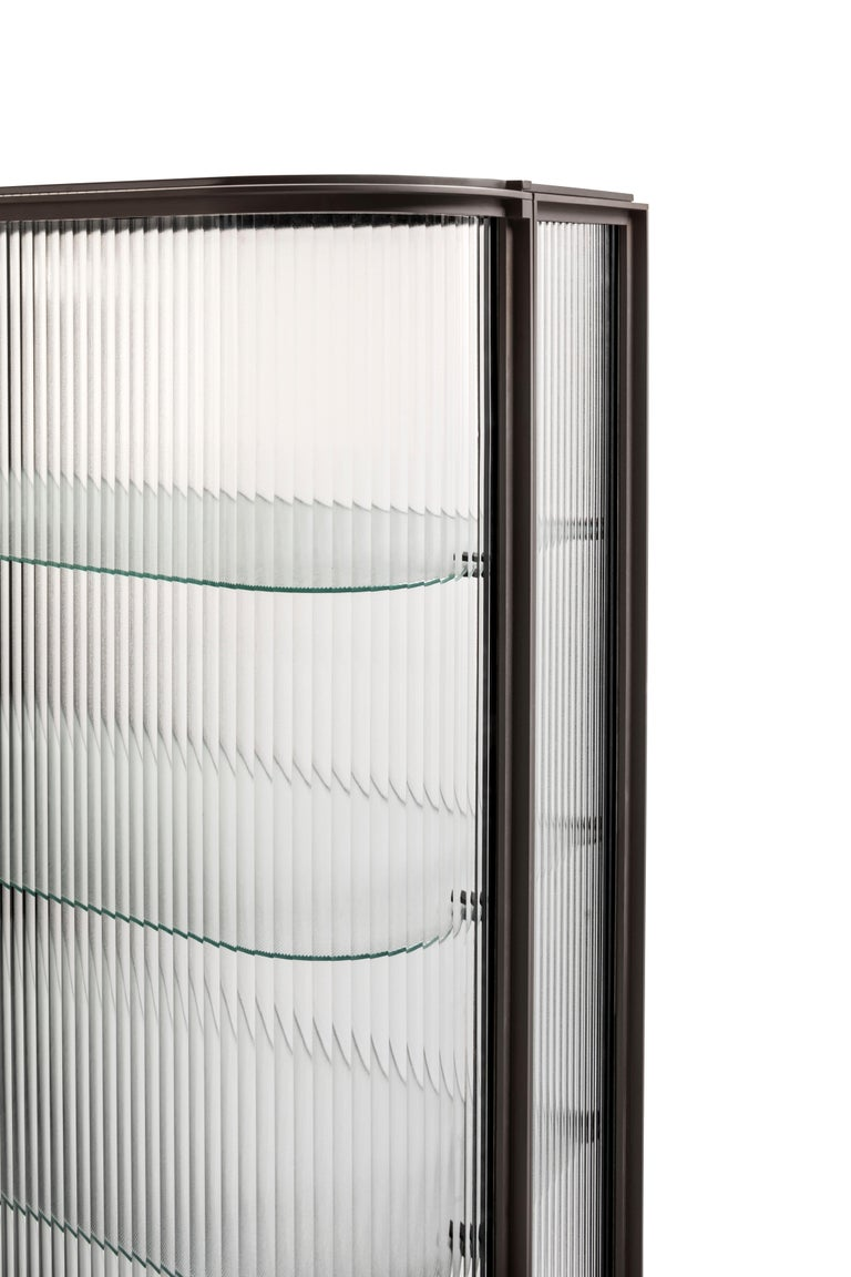 Modern Contemporary QD19 Cabinet with Brass and Ribbed Glass For Sale