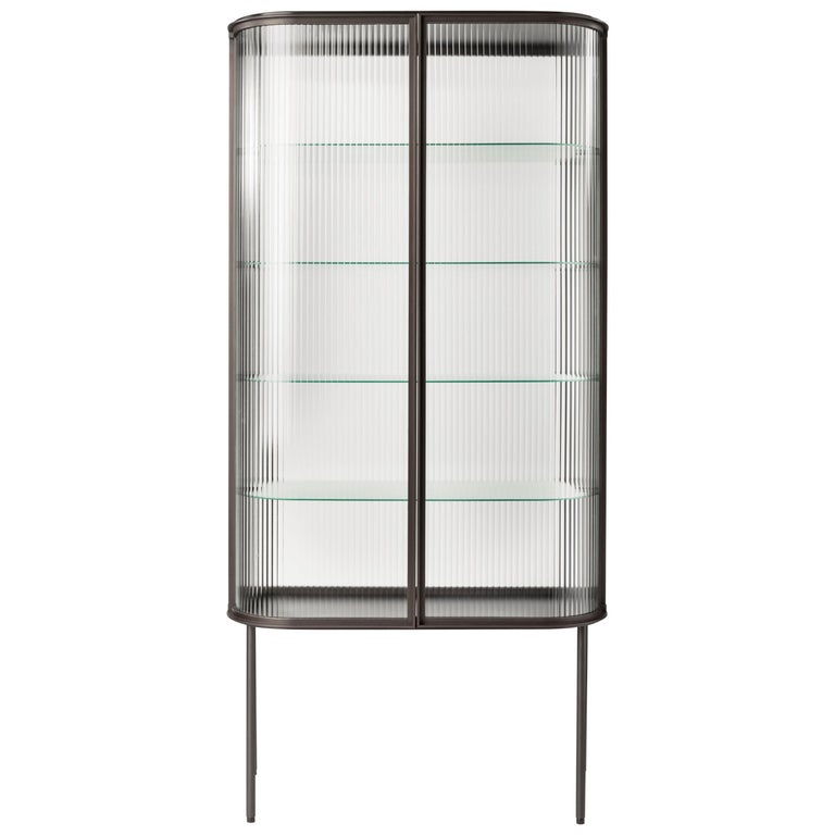 Contemporary QD19 Cabinet with Brass and Ribbed Glass For Sale