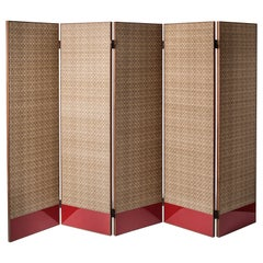 Contemporary QD24 Floor Screen with Silk, Velvet, Walnut and Lacquered Wood