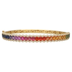 Contemporary Rainbow Sapphire and Diamond Hinged Bangle Set in 18k Yellow Gold