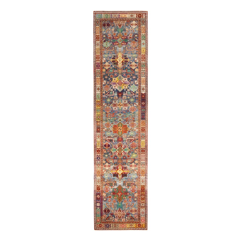 Contemporary Rajasthan Tribal Red and Blue Multi-Color Wool Rug For Sale