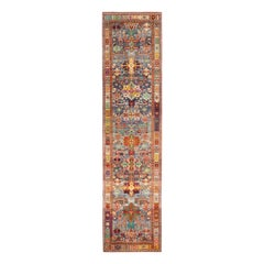 Contemporary Rajasthan Tribal Red and Blue Multi-Color Wool Rug