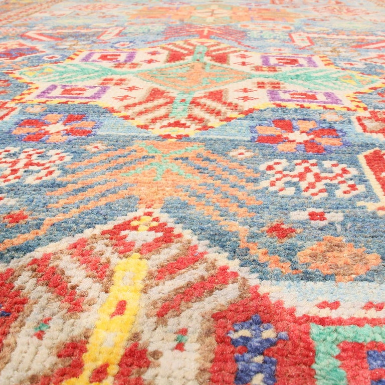 Hand-Knotted Contemporary Rajasthan Tribal Red and Blue Multi-Color Wool Rug For Sale