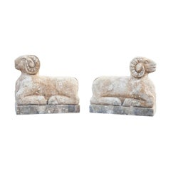 Contemporary Rams Stone Sculptures