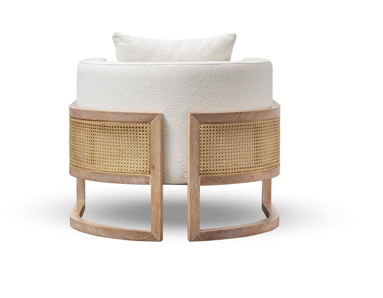 Modern Contemporary Rattan Armchair Set in White Washed Solid Oak For Sale