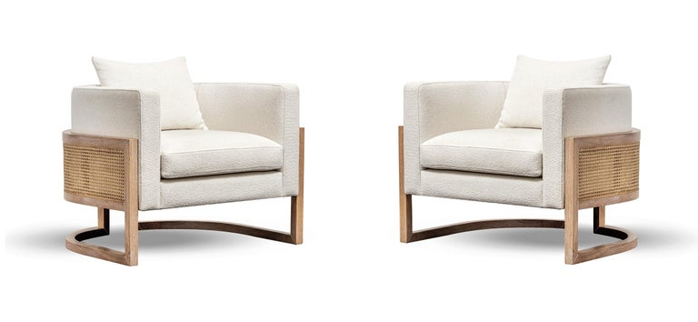 Contemporary Rattan Armchair Set in White Washed Solid Oak In New Condition For Sale In New York, NY