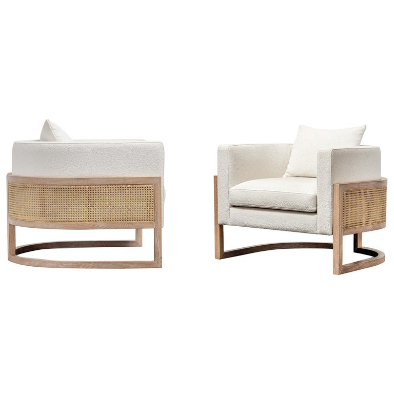Contemporary Rattan Armchair Set in White Washed Solid Oak For Sale