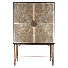 Contemporary Rattan Cabinet in Antique Brass Legs
