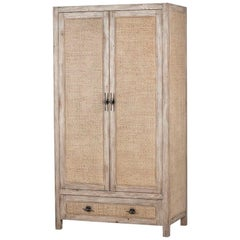 Contemporary Rattan Cabinet in Weathered Beechwood