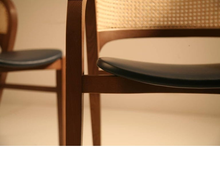 Modern Contemporary Rattan/Cane Dining Chair Set of 6 For Sale