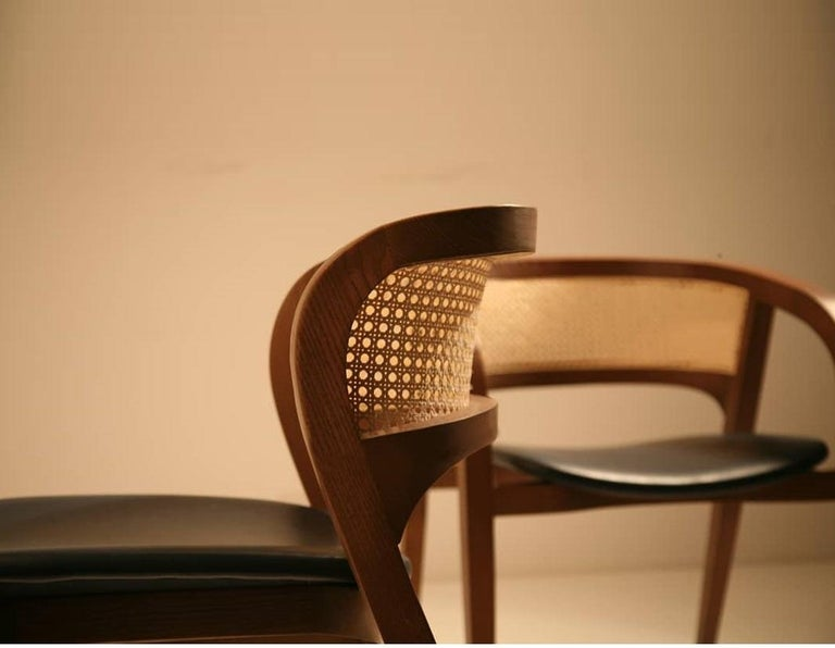 Contemporary Rattan/Cane Dining Chair Set of 6 In New Condition For Sale In New York, NY