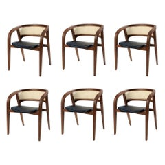 Contemporary Rattan/Cane Dining Chair Set of 6