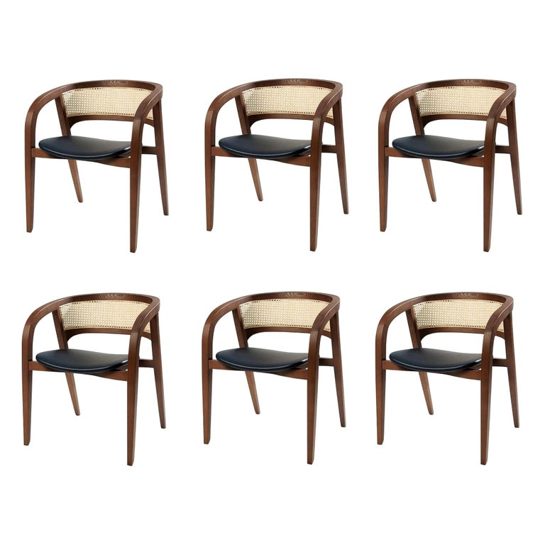 Contemporary Rattan/Cane Dining Chair Set of 6 For Sale