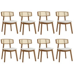 Contemporary Rattan Dining Chair Set of 8, Walnut/Cream Linen