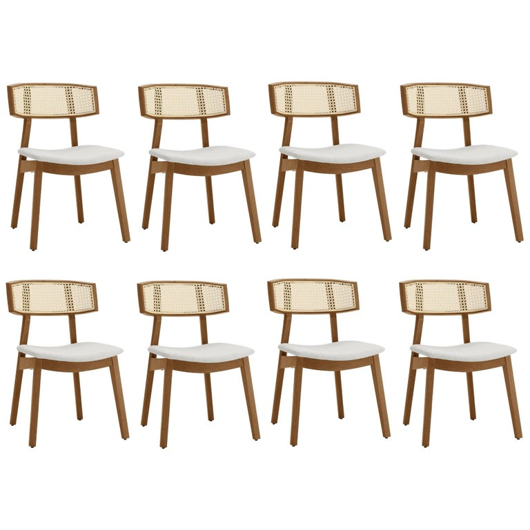 Contemporary Rattan Dining Chair Set of 8, Walnut/Cream Linen For Sale