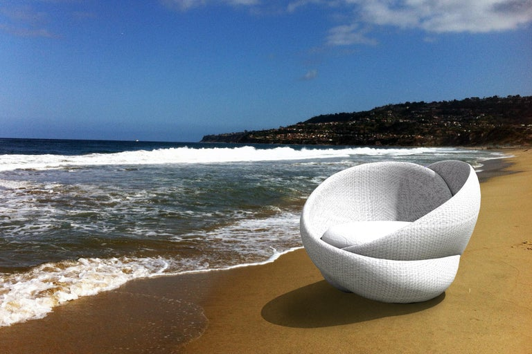 Contemporary Rattan Indoor-Outdoor Armchair, Cushions in Sunbrella Fabric For Sale 1