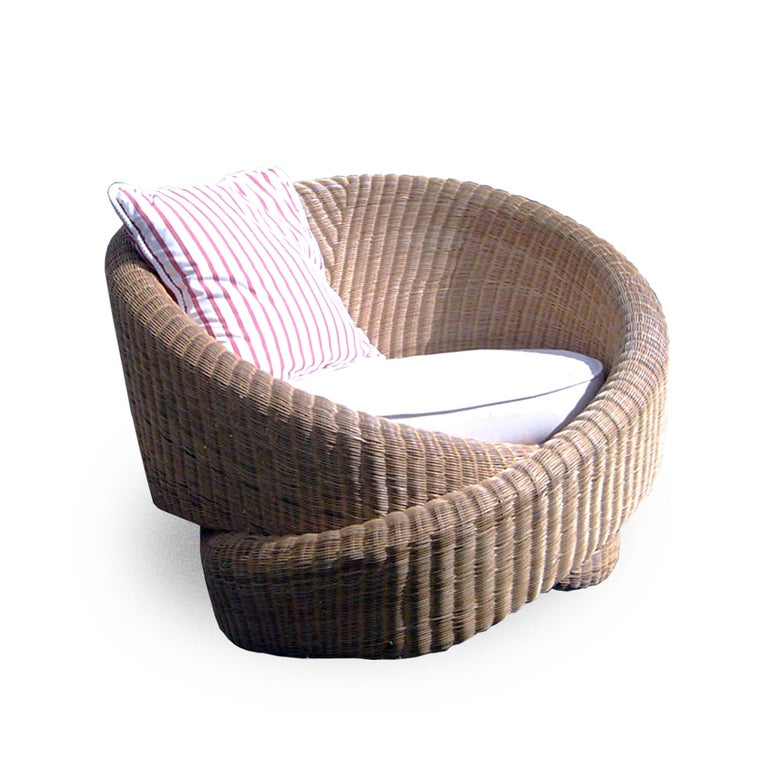 Contemporary Rattan Indoor-Outdoor Armchair, Cushions in Sunbrella Fabric For Sale 2