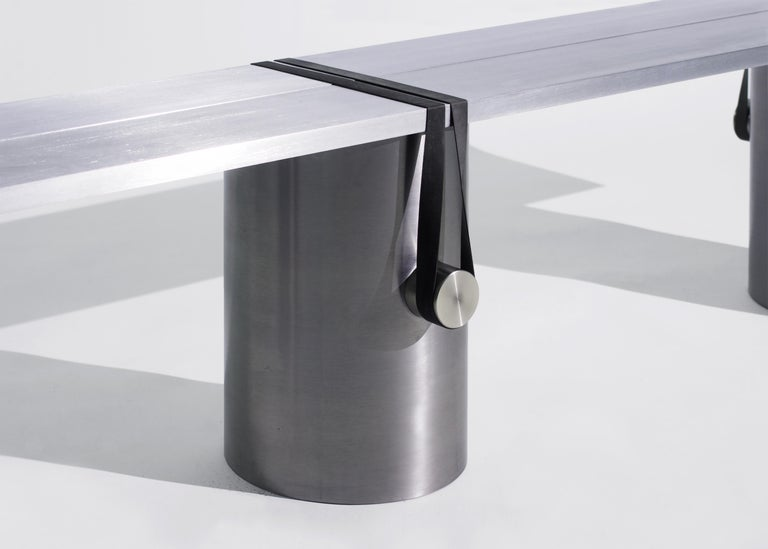 Modern Contemporary RB02 Bench in Steel, Stainless Steel and Aluminium For Sale