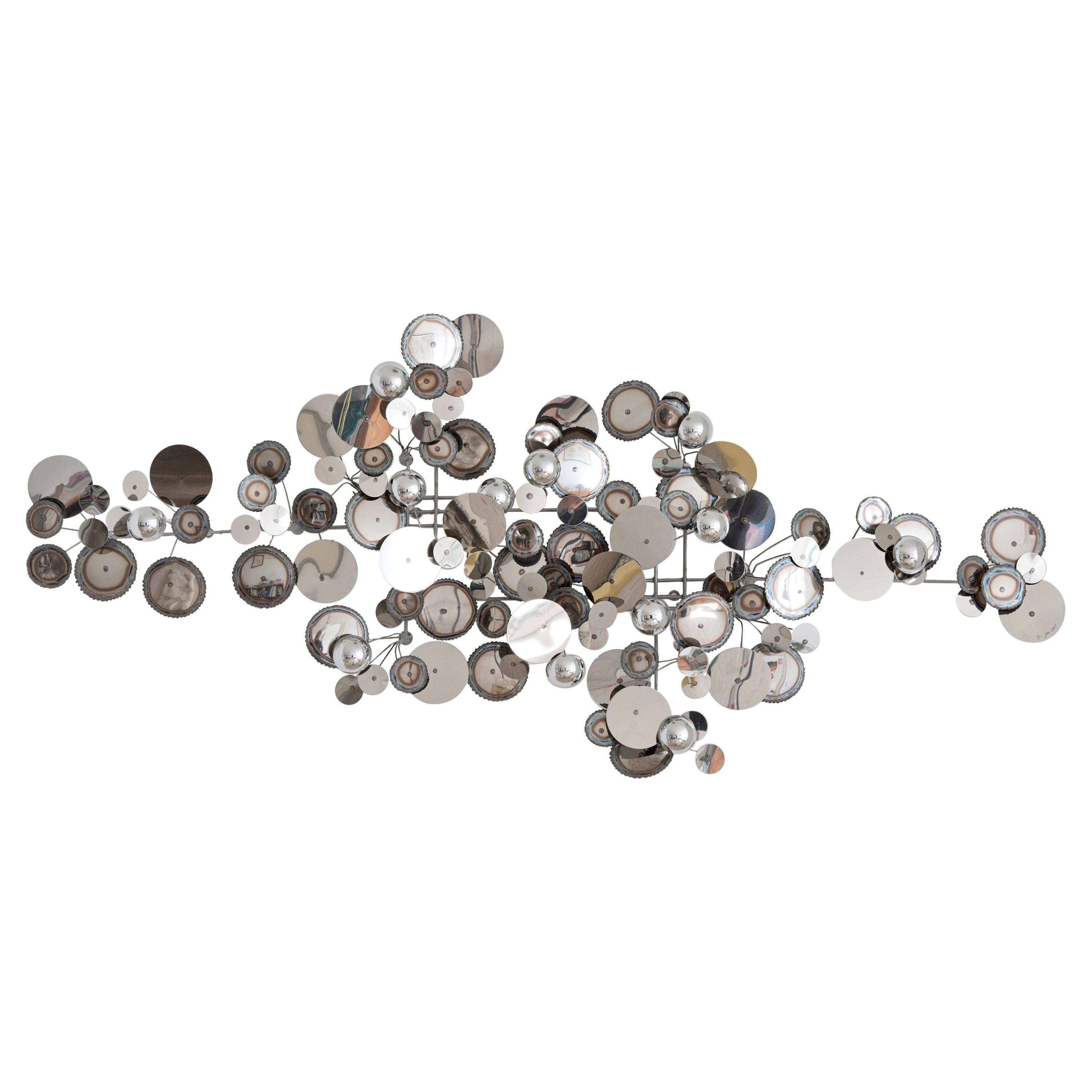 Contemporary Re-Edition Curtis Jere Raindrops Wall Sculpture in Chrome, USA