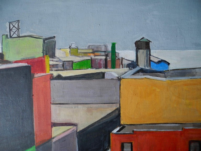 This original painting was made in the 2000s by a Brooklyn Artist. The oil painting beautifully depicts an urban DUMBO, Brooklyn roof top view. Signed lower left.