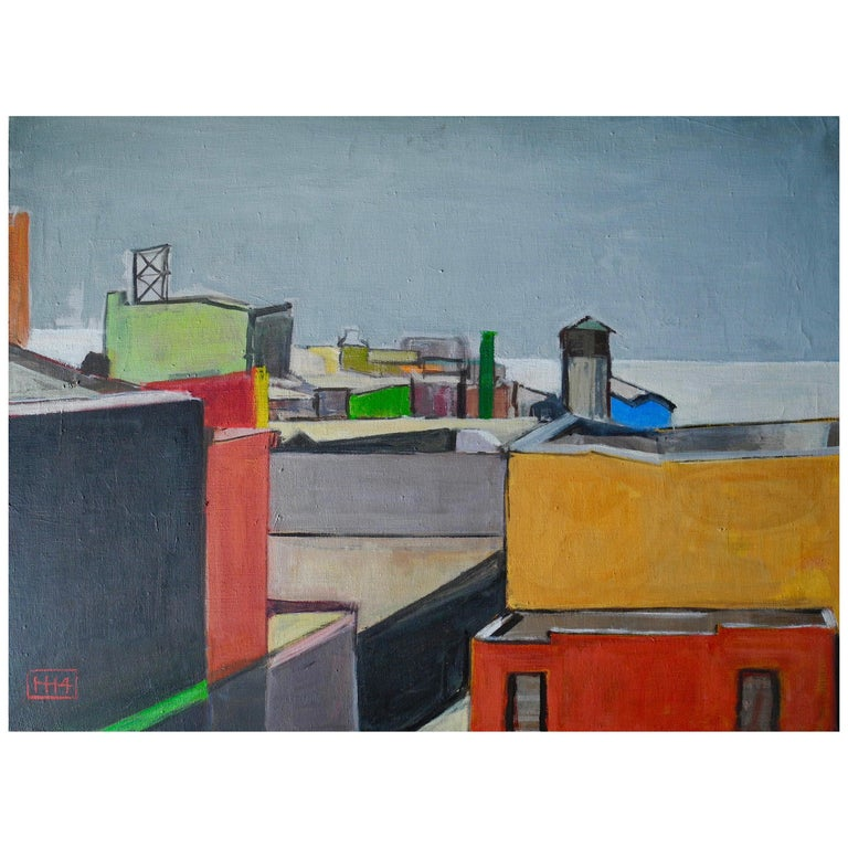 Contemporary Realistic Cityscape Oil Painting of Roof Top Dumbo Brooklyn For Sale